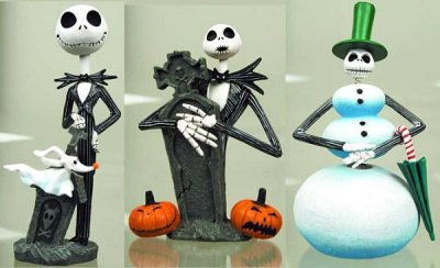 Set of 3 Jack Skellington mini bobbleheads