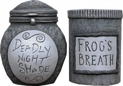 Deadly Nightshade & Frog's Breath salt & pepper shakers from our ...