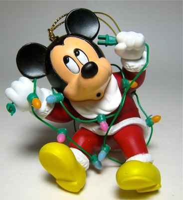 santa mickey mouse tangled in christmas lights ornament grolier - Mickey Mouse Ornaments Christmas