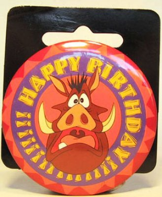 Pumbaa Happy Birthday large button from our Buttons