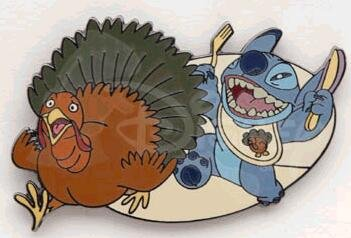 Stitch chasing Thanksgiving turkey pin