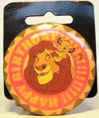 Mufasa & Simba Happy Birthday large button from our Buttons
