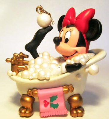 """Bubblin' with joy"" - Minnie Mouse in bubble bath ornament"