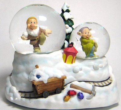 Dopey and Sneezy musical snowglobe