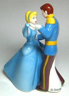 Cinderella and Prince Charming dancing magnetized salt and pepper shaker set