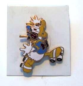 Donald Duck roller skating with walkman Disney pin