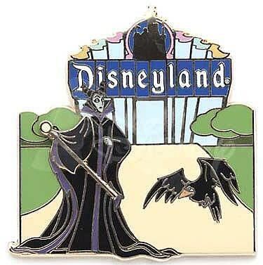 Maleficent and Diablo in front of the Disneyland marquee