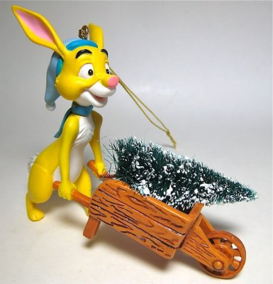 Rabbit with Christmas tree in wheelbarrow ornament ...