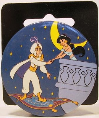 Aladdin On Magic Carpet Amp Jasmine On Balcony Button From