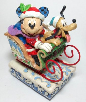 'Laughing All The Way' - Mickey Mouse and Pluto on sled Christmas musical figurine (Jim Shore Disney Traditions)
