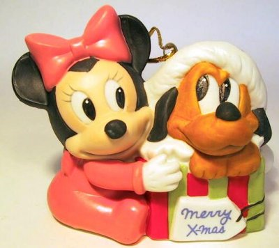 Baby Minnie Mouse With Baby Pluto As Christmas Present