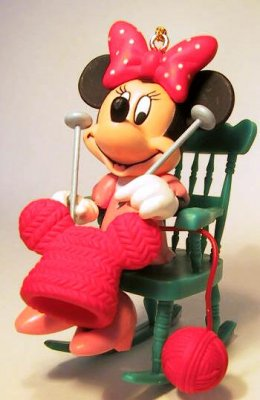 Minnie Mouse Sitting In Rocking Chair Knitting Ornament