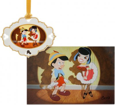 Pinocchio 'Artist Series' sketchbook ornament and lithograph set