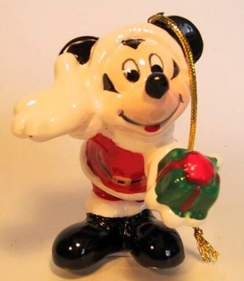 Mickey Mouse with green gift ornament