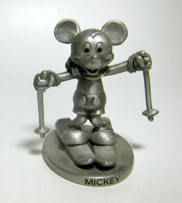 Mickey Mouse skiing pewter figure