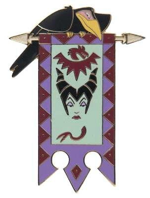 Diablo perched on Maleficent banner pin from our Pins