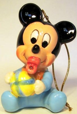 Baby Mickey Mouse with ball ornament