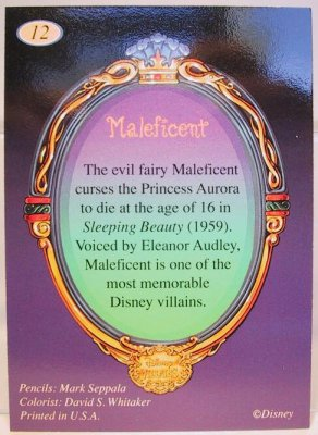 Maleficent with Diablo Disney Villains 2-sided card from our Other