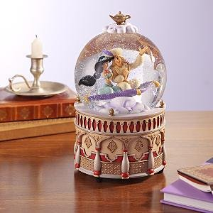 Aladdin & Jasmine on flying carpet musical snowglobe