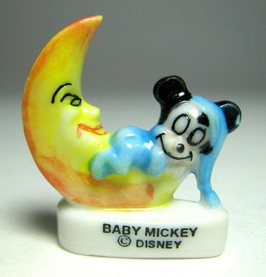Baby Mickey Mouse on moon porcelain miniature figure