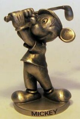 Mickey Mouse playing golf pewter figure