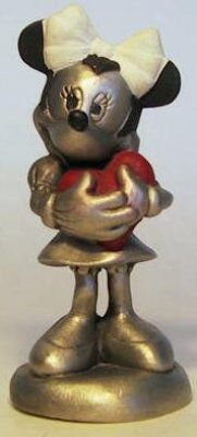 Minnie Mouse St Valentine's Day colored pewter figure