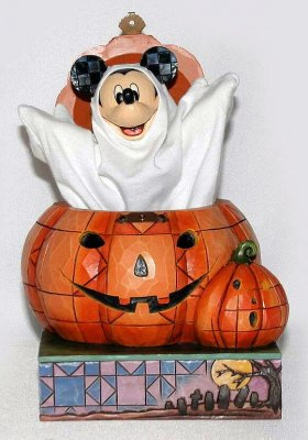 Beware of the Pumpkin Patch - Mickey Mouse as Halloween ghost figurine (Jim Shore Disney Traditions)
