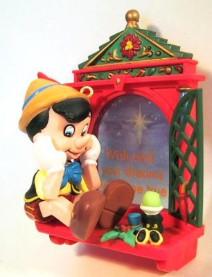 Wishing on a star - Pinocchio with Jiminy Cricket at window ornament