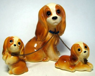 Set of Lady and two puppies ceramic figures