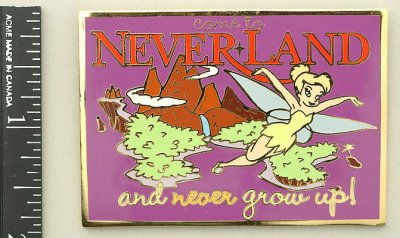 Come to Neverland and never grow up! picture postcard Disney pin