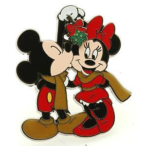 Mickey kisses Minnie under the mistletoe slider pin