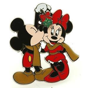 Mickey kisses Minnie under the mistletoe slider pin
