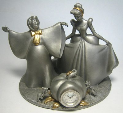 Cinderella and Fairy Godmother pewter clock