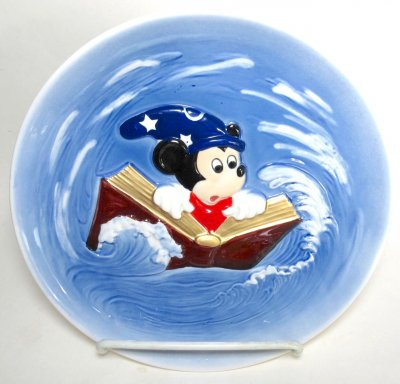 Mickey Mouse as Sorcerer's Apprentice riding book in whirlpool Bas Relief decorative plate