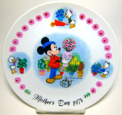 Mickey Mouse with Huey, Dewey & Louie Mother's Day 1974 decorative plate