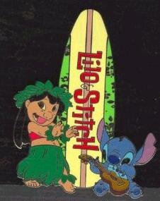Lilo and Stitch with logo surfboard pin