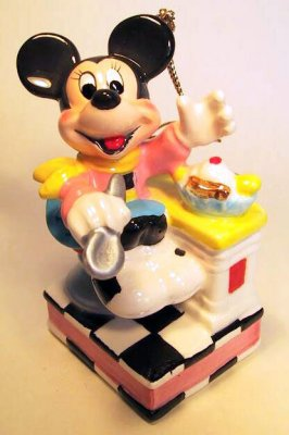 Minnie Mouse at soda fountain ornament
