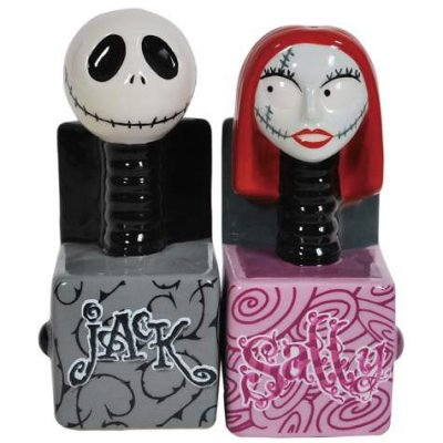 Jack Skellington & Sally jack-in-the-box salt and pepper shaker set