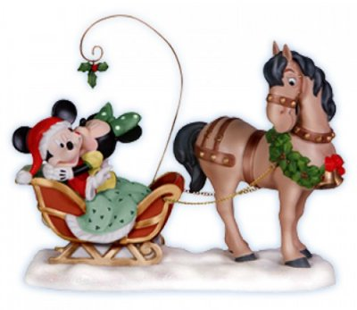 'Merry Kiss-Miss' - Mickey & Minnie Mouse Christmas figurine