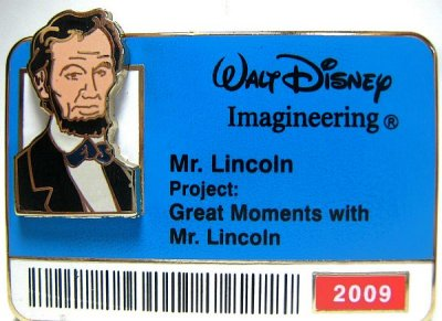 Abraham Lincoln 'Walt Disney Imagineering staff ID badge' pin