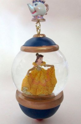 Belle and Mrs. Potts globe sketchbook ornament (Disney Store 30th Anniversary) 2017