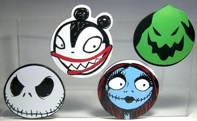 Set of four coasters featuring Jack Skellington, Sally, Scary ...
