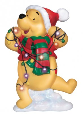 Winnie The Pooh Tangled In Christmas Tree Lights Figure