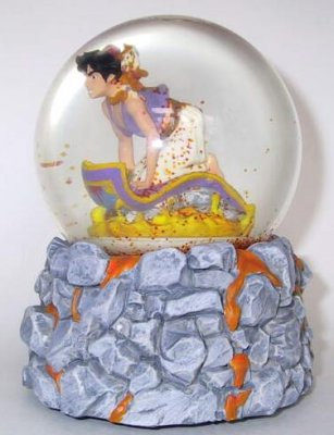 Aladdin on magic carpet musical snowglobe