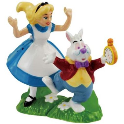 Alice and White Rabbit magnetized salt and pepper shaker set