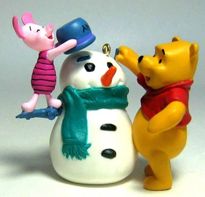 Winnie The Pooh And Piglet Making A Snowman Ornament