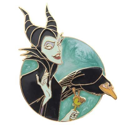 Maleficent with Diablo pin, with green swirl background from