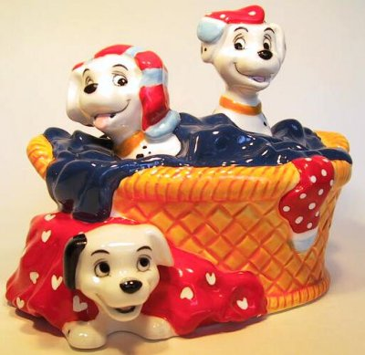 Dalmatian puppies laundry basket music box