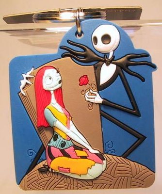 Jack Skellington and Sally with rose keychain