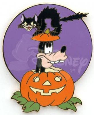 goofy in halloween jack o lantern with black cat pin - Goofy Halloween Pictures
